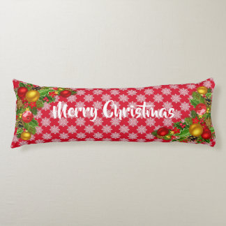 Red and White Merry Christmas Long Cosy Pillow