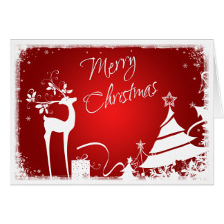 Red and White Merry Christmas Tree with Deer Card
