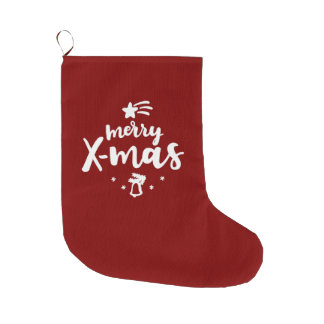 Red And White Merry Xmas Large Christmas Stocking
