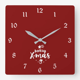 Red And White Merry Xmas Square Wall Clock