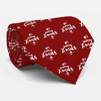 Red And White Merry Xmas Tie