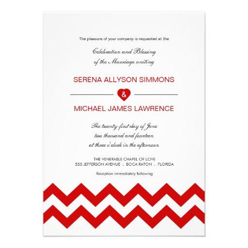 Red and White Modern Chevron Wedding Invitations