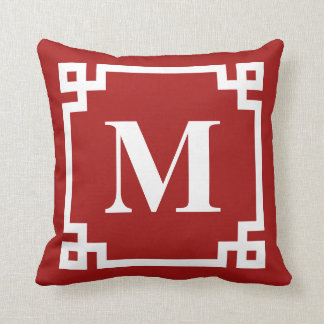Red and White Modern Greek Key Border Monogram Cushion