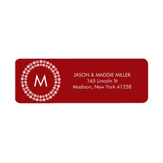 Red and White Monogram Return Address Label