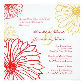 Red and White Mum Flowers Wedding Invitation