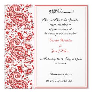Red and white Muslim wedding Custom Invitation
