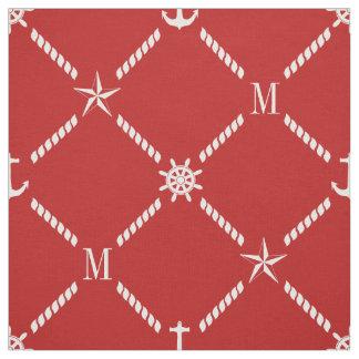 Red and White Nautical Monogram Fabric