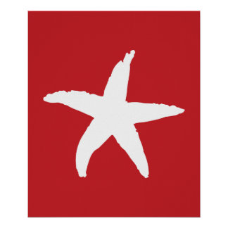 Red and White Nautical Sea Star Poster