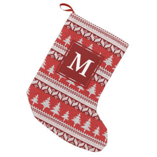 Red and White Nordic Alpine Fir Trees Monogram Small Christmas Stocking