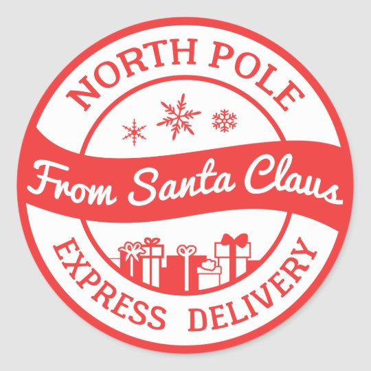Red and white North Pole delivery gift sticker