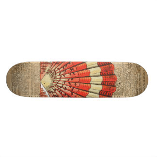 Red and White Ocean Sea Shell Dictionary Book Page Skate Deck