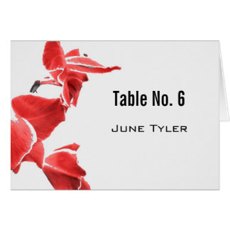 Red and white orchids exotic place card
