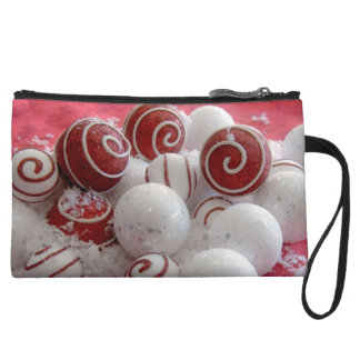 Red and White Ornaments Wristlet