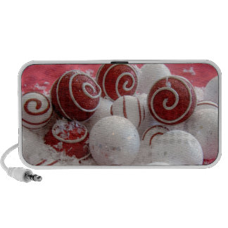 Red and White Ornaments Doodle Speakers