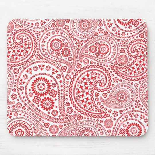 Red and White Paisley Pattern Mouse Mat