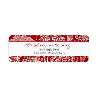 Red and White Paisley Personalised Return Address Return Address Label
