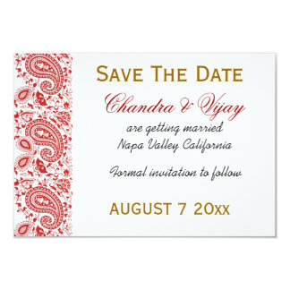 Red and white paisley Save the date wedding 9 Cm X 13 Cm Invitation Card