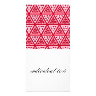 Red and White Pattern 04 Photo Card