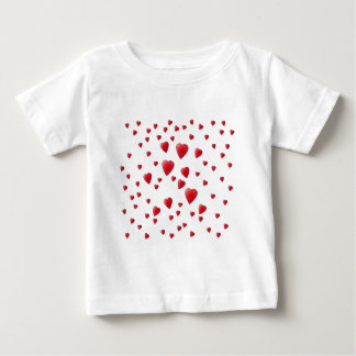 Red and White Pattern of Love Hearts. Baby T-Shirt