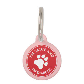 Red And White Paw With Diabetic Text Pet Tag