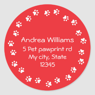 Red and white pawprint border address round sticker