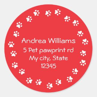 Red and white pawprint border address round sticker