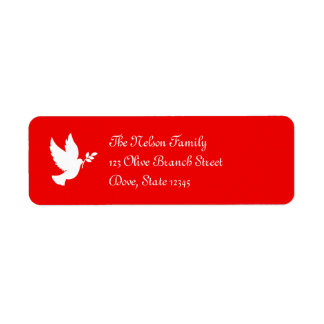 Red and White Peace Dove Return Address Label