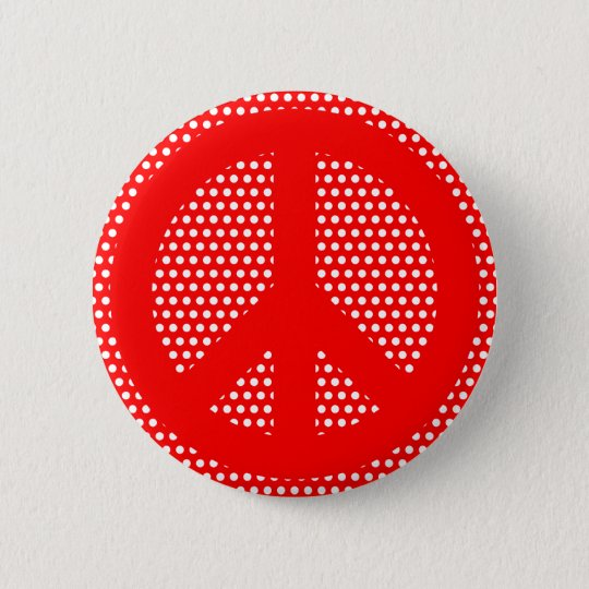 Red and White Peace Symbol 6 Cm Round Badge