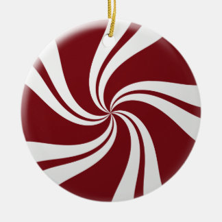 Red and White Peppermint Candy Christmas Ornament