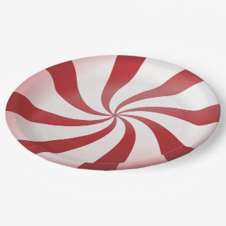 Red and White Peppermint Candy Paper Plates