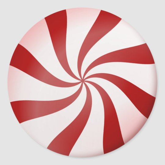 Red and White Peppermint Candy Stickers