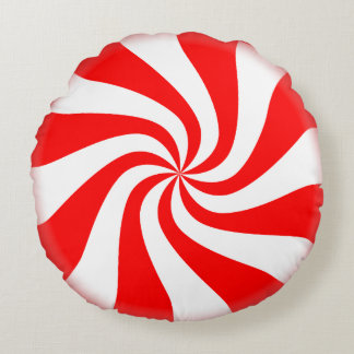 Red and White Peppermint Swirl Candy Pillow