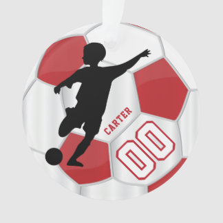 Red and White Personalize Boy Soccer Player Ornament