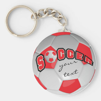 Red and White Personalize Soccer Ball Basic Round Button Key Ring