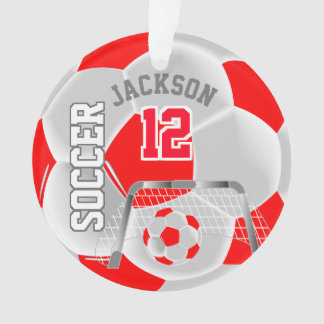 Red and White Personalize Soccer Ball Ornament