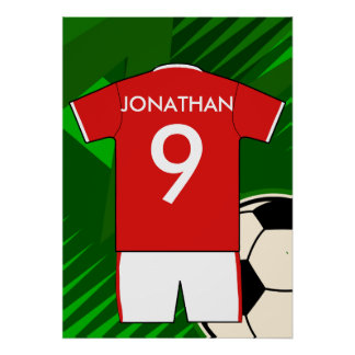 Red and white personalized soccer jersey poster