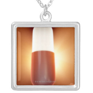 Red and White Pill Silver Plated Necklace