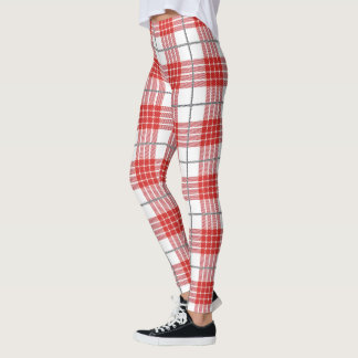 Red and White Plaid Unique Modern Trendy Leggings