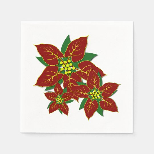 Red And White Poinsettias Christmas Pattern Paper Napkins