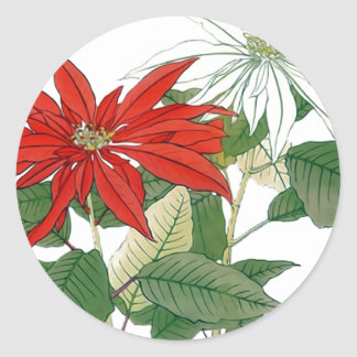 Red and White Poinsettias Round Sticker