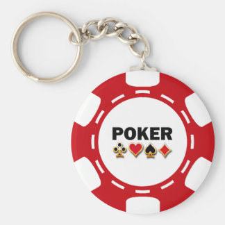 RED AND WHITE POKER CHIP BASIC ROUND BUTTON KEY RING