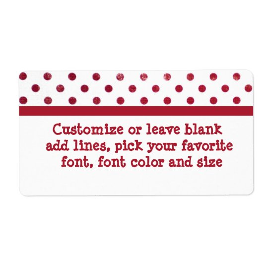 Red and white polk-a-dots large label