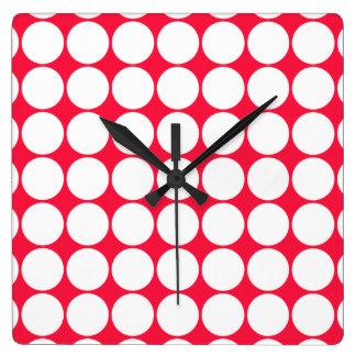 Red and white polka dot clock