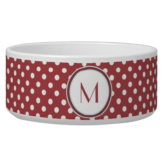 Red and White Polka Dot Monogram Pet Bowl
