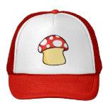 Red and White Polka Dot Mushroom Trucker Hat