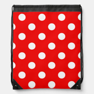 Red and white polka Dot pattern Drawstring Bag