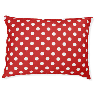 Red and White Polka Dot Pattern Pet Bed
