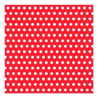 Red and White Polka Dot Pattern. Spotty. 13 Cm X 13 Cm Square Invitation Card