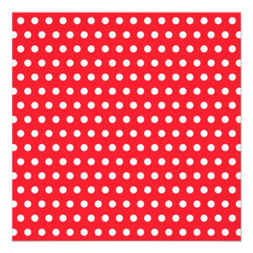 Red and White Polka Dot Pattern. Spotty. Personalized Invitation