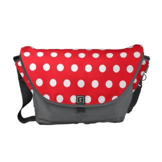 Red and White Polka Dot Pattern. Spotty. Messenger Bag